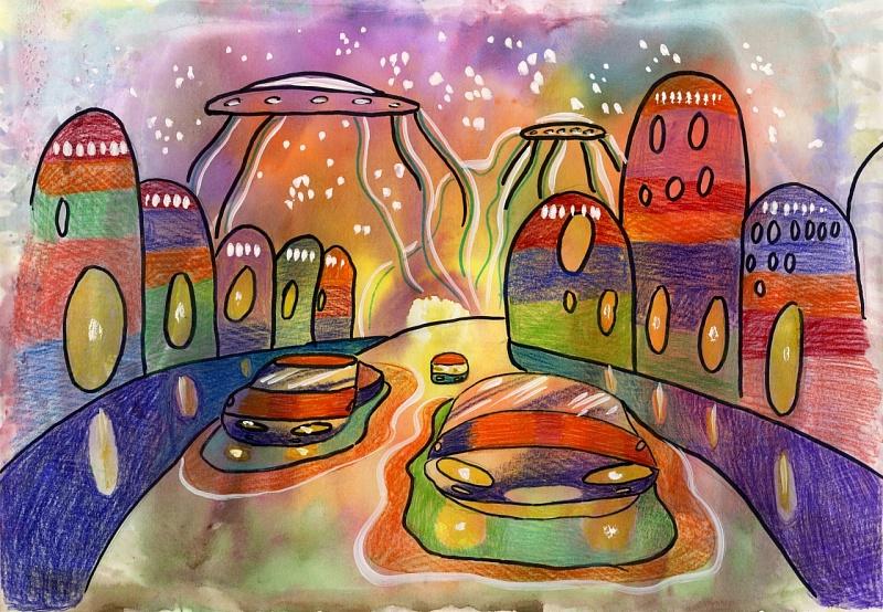 Инопланетный город рисунок детский